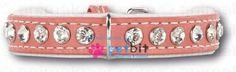 Swarovski Strass Extreme Pink/White 15 mm - Swarovski Strass Extreme Pink/White 15 mm Hundehalsband aus echtem Leder. Aussen besetzt mit funkelnden Strasssteinen von Swarovski und innen mit weichem Ka
