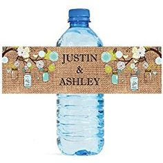 """100 Burlap Mason Jar Wood Wedding personalized Water Bottle Labels Great for Engagement Bridal Shower Party 8""""x2"""""""