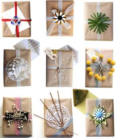 Creative gift wrap ideas Stylish Holiday Gift Wrap Ideas.  Craft paper