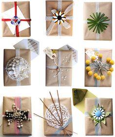 Creative gift wrap ideas Stylish Holiday Gift Wrap Ideas.  Craft paper