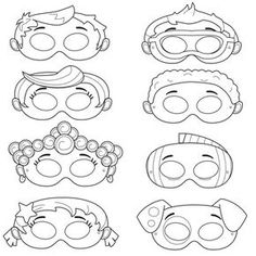 This listing is for (8) printable mask JPG files, black and white, that are in a zip! All masks are ready to be printed, cut, colored and