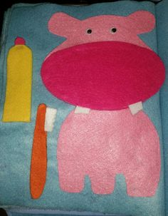 Quiet Book page- hippo and brushing teeth
