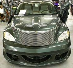 Custom 2003 Chrysler PT Cruiser Front View Love the hood and front spoiler.