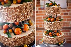 Fruit-adorned wedding cake