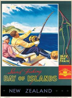 Fishing-Bay-of-Islands-New-Zealand-Vintage-Travel-Advertisement-Art-Poster-Print