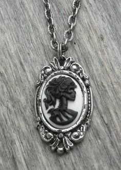 Halloween Black and White Skull Cameo Silver Necklace Gothic Skeleton Lady Goth