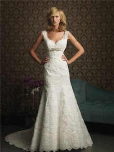A Line V Neck Empire Waist Lace Wedding Dress With Straps Crystal Belt