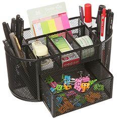 Space Saving Black Metal Wire Mesh 8 Compartment Office  School Supply Desktop Organizer Caddy w Drawer