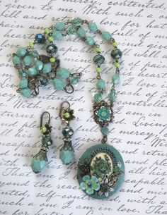 Green Tea Rose - Hand Painted Vintage Assemblage Statement Locket Necklace and Earrings set OOAK