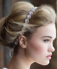 A beautiful bridal headband | Alex Headband by Kirsten Kuehn Designs! | blog.theknot.com. #wedding #bacheloretteandbride