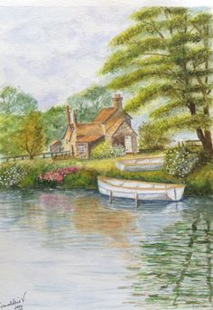 Summer by the River - a watercolour inspired by Terry Harrison. I like most of this painting, but I dislike the large tree. I'm sure I could do it better now! Watercolor Pictures, Watercolor Artists, Watercolour Painting, Watercolors, River Drawing, Nature Drawing, House Art, Painting Lessons, Country Living