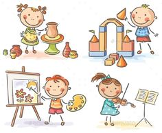 Buy Kids in Different Creative Activities by katya_dav on GraphicRiver. Kids engaged in different creative activities Drawing School, Drawing For Kids, Creative Activities, Preschool Activities, Stick Figure Drawing, Kids Background, Happy Cartoon, Cartoon Sketches, Stick Figures