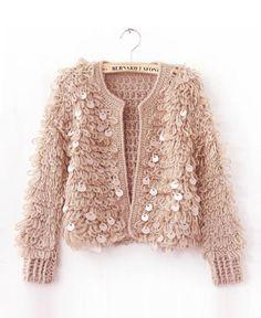 Vintage Sequins Plush Fluffy Knitting Short Sweater