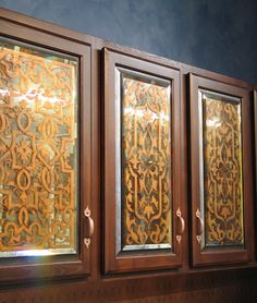 Oak Cabinet Doors Stenciling on Glass and Mirror for a Cheap and Easy DIY Project