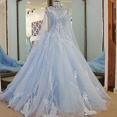 New Arrival A-Line Blue Tulle Train Prom Dresses with Flower Appliques 2017 could be a pretty winter wedding dress as well. Prom Dresses 2018, Blue Wedding Dresses, Quinceanera Dresses, Wedding Gowns, Blue Dresses, Prom Dress With Train, The Dress, Quince Dresses, Fantasy Dress
