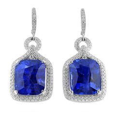 44.81 Carat Cushion Cut Sapphire Diamond Earrings | From a unique collection of vintage dangle earrings at https://www.1stdibs.com/jewelry/earrings/dangle-earrings/
