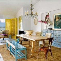 Bright and colorful shabby-chic infused beach house in Caceres, Spain.
