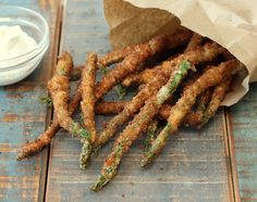 These Asparagus Fries are amazingly tasty. Easy to make and addictive. Serve with your favorite dipping sauce, and you won't believe how fast they go!
