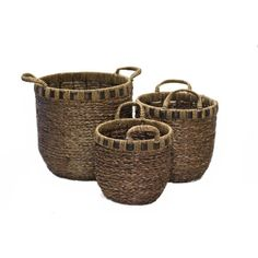 Features:Set includes 1 small, 1 medium and 1 large basketsBrown finishMaterial: WickerProduct Ty...