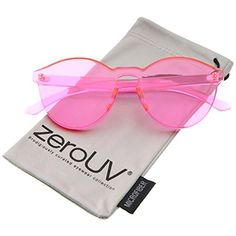 b7098aa8e58bb Amazon.com  zeroUV - One Piece PC Lens Rimless Ultra-Bold Colorful Mono  Block Sunglasses 60mm (Black)  Clothing