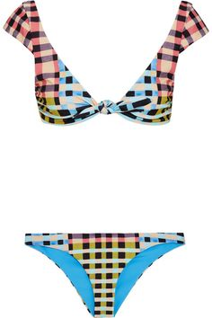 Mara Hoffman is committed to sustainability - this bikini is cut from a recycled Italian stretch fabric that is digitally printed to reduce water consumption. Complete with SPF50 protection, it has low-rise briefs and an adjustable cap sleeve top. We particularly like the retro checked pattern.