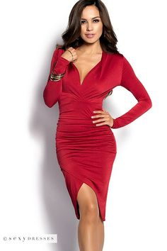 62e2fa8a3a Red Plunging Neckline Midi Length Tulip Skirt Dress with Sleeves Red  Holiday Dress