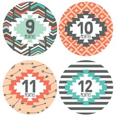Lucy Darling | Tribal Design 1-12 (B) | The cutest monthly baby stickers, art prints, and more!