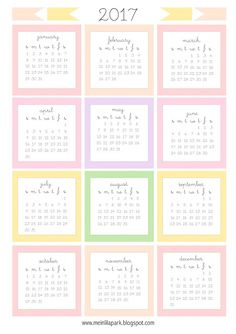 Free printable 2017 mini calendar cards - bullet journal stickers - freebie | MeinLilaPark – DIY printables and downloads