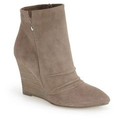 """Kristin Cavallari 'Candyce' Wedge Bootie, 3 1/4"""" heel ($179) ❤ liked on Polyvore featuring shoes, boots, ankle booties, ankle boots, grey suede, leather wedge booties, wedge boots, high heel booties and leather booties"""