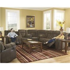 Signature Design by Ashley Troubadore Casual Brown Chenille/Faux Leather Power Reclining Sectional - L Fish - Reclining Sectional Sofa Indianapolis, Greenwood, Greenfield, Fishers, Noblesville, Carmel, Avon, Plainfield, IN