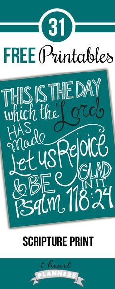 Free Scripture Print - Psalm 118:24