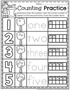 This Kindergarten Math Unit 1 Set includes 25 Number Worksheets and 15 Math Centers. Simplify your lesson planning with these fun, hands on activities. Back To School Worksheets, Preschool Number Worksheets, Numbers Kindergarten, Kindergarten Math Activities, Numbers Preschool, Homeschool Math, Preschool Apples, Literacy Worksheets, Counting Activities
