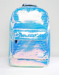 Buy Spiral Backpack in Textured Holographic at ASOS. With free delivery and return options (Ts&Cs apply), online shopping has never been so easy. Get the latest trends with ASOS now. Holographic Bag, Holographic Fashion, Asos, School Bags For Kids, Girl Backpacks, Blue Bags, Backpack Bags, Polyvore, Rebecca James
