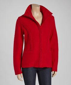 Red Snap-Button Wool Jacket by Venario #zulily #zulilyfinds