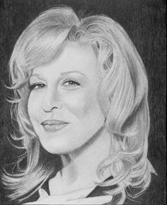 celebrity drawing - bette midler by gail yarbrough Celebrity Caricatures, Celebrity Drawings, Celebrity Portraits, Pencil Portrait, Portrait Art, Pencil Drawings, Pencil Art, Graphite Art, Bette Midler