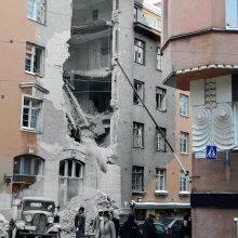 Korkeavuorenkatu 9 / 7.7.1941 / Korkeavuorenkatu 9:n tuhoutunut julkisivu jatkosodan alussa tapahtuneen pommituksen jälkeen.