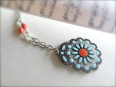 Native Blossom Pendant Necklace on Antiqued Silver by Kitschish, $25.00