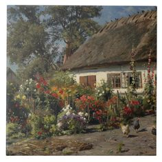 A Cottage Garden with Chickens by Peder Monsted, Oil on canvas. Size: Large X Gender: unisex. Forest Cottage, Woodlands Cottage, Cottage In The Woods, Garden Cottage, Cozy Cottage, Cottage Homes, Cottage Living, Italian Cottage, French Countryside