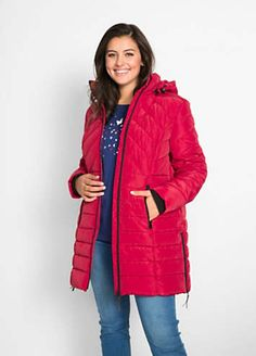 Quilted Hooded Coat by bpc bonprix collection | bonprix Winter Coats, Winter Jackets, Coats For Women, Hoods, Thighs, Dark Blue, Latest Trends, Collection, Black