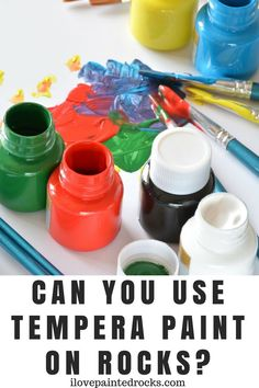 Can you use tempera paint on rocks? If you are painting rocks with your kids, be sure to read this informative guide to using tempera paint and other non-toxic paints that are safe for children. Kids Painting Projects, Rock Painting Supplies, Rock Painting Ideas Easy, Painting For Kids, Art For Kids, Kid Art, Diy Projects, Painting Tips, Tempera