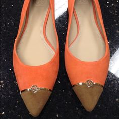Spotted while shopping on Poshmark: Tory Burch coral suede logo flats! #poshmark #fashion #shopping #style #Tory Burch #Shoes
