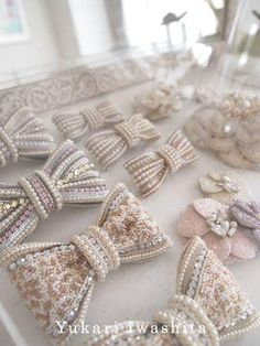 Discover thousands of images about Bows Pearl Embroidery, Tambour Embroidery, Couture Embroidery, Bead Embroidery Jewelry, Hand Embroidery, Beaded Jewelry, Hair Ribbons, Ribbon Bows, Hair Bows
