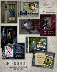 Graduation Announcement Templates for Photographers - JUST FOR GUYS 2 Collection - 5x7 Cards for Millers/Mpix & Whcc Lab Specs