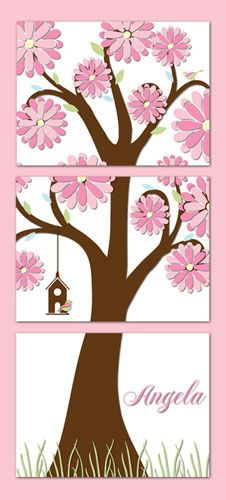 "Three-panel ""whimsical tree"" canvas flower theme wall mural for girl's room Kids Room Murals, Tree Wall Murals, Mural Wall Art, Tree Canvas, Flower Canvas, Wall Canvas, Canvas Art, Garden Mural, Garden Theme"
