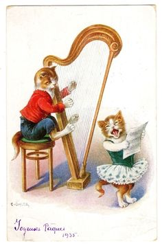 Postcard Cats Harpist and Singer Signed Ohler 1935 | eBay
