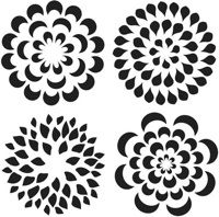 stencils but think about cutting a shape and using it over and over again to make a flower