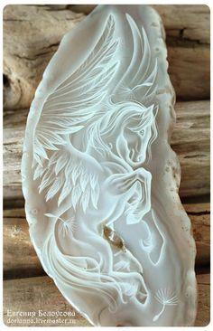 """Кулоны, подвески ручной работы. Ярмарка Мастеров - ручная работа. Купить Кулон с росписью """"Дух воздуха-3"""" (лошадь, агат, ангел, пегас). Handmade."""