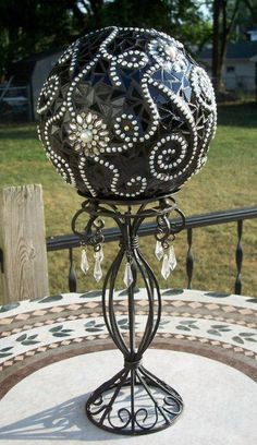 A Formal Affair Mosaic Gazing Ball on Pedestal by RenegadeRose