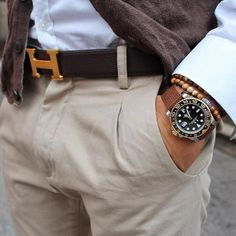 VM bracelets, Rolex watch & Hermes belt