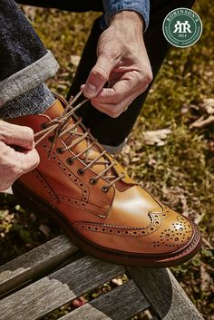 Embrace the change in weather and invest in a pair of boots that are built to last. Tricker's Stow is a country boot that is equally at home in the city. Complete with a storm welt and Dainite sole for added durability. Pictured in acorn, a rich tan that's unique to Tricker's. #trickers #trickersstow #winterboots #autumnfashion #robinsonsshoes Tan Leather, Leather Boots, Trickers Shoes, Country Boots, Shoe Horn, Shoe Tree, Types Of Shoes, Brogues, Acorn